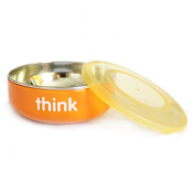 Thinkbaby Low Rise BPA Free Baby Bowl, Silver/Orange