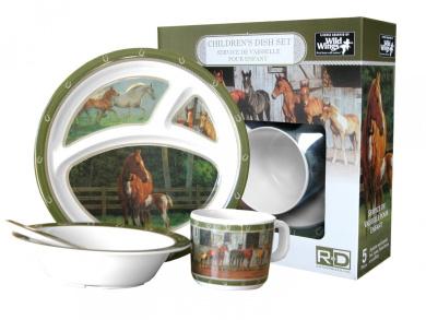 Wild Wings Children's 5-Piece Melamine Tableware Set Featuring Horses