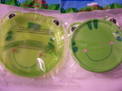 Animal Friends Frog 2 Piece Plastic Dining Set ~ Divided Plates, Travel Bowl with Lid