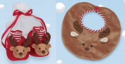 Bearington Bears Plush Reindeer Baby Bib & Booties