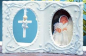 10.2cm Photo Frame with Cross for Baby Girl
