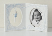 10.2cm Boy Baby Frame with Cross