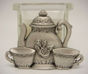 Teapot, Teacup, Creamer w/Glass Candle