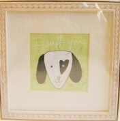 """Dog Baby Wall Art Wood Frame - """"I Ruff you"""""""