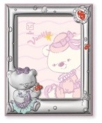 Silver Touch USA Sterling Silver Picture Frame, Vanilla Bear and Butterflies