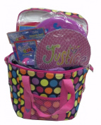 Justice for Girls Summer Fun Gift Basket (Polka Dot) - Includes Beach Towel, Pool Toys, Frisbee, Personal Fan, and Paddle Ball