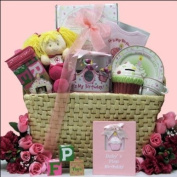Great Arrivals Baby Birthday Gift Basket, Baby's 1st Birthday Girl Large