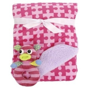 Littlemissmatched Reversible Blanket with Rattle- Pink Puzzle