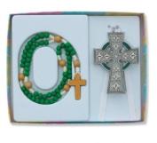 Celtic Crib Cross Rosary Gift Set Claddagh Irish Nursery Baptism Christening
