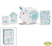 """It's A Boy"" Baby Keepsake Gift Set with First Piggy Bank,Frame,Curl Box and Tooth Box"