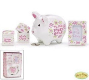 """It's A Girl"" Baby Keepsake Gift Set with First Piggy Bank,Curl and Tooth Box and Frame"