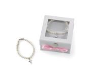 Mud Pie Baby Classic Keepsakes Cultured Pearl Bracelet with Cross,