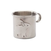 Baby Cup Keepsake Christening Gift Idea for Baby Girl or Boy Silver Look Pewter Bunny Design