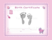 TenLil'Imprints Birth Certificate Kit, Pink/Black