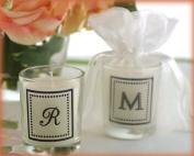 """""""Our New Monogram"""" Monogrammed Votive Candle in Sheer Organza Bag - Baby Shower Gifts & Wedding Favours"""