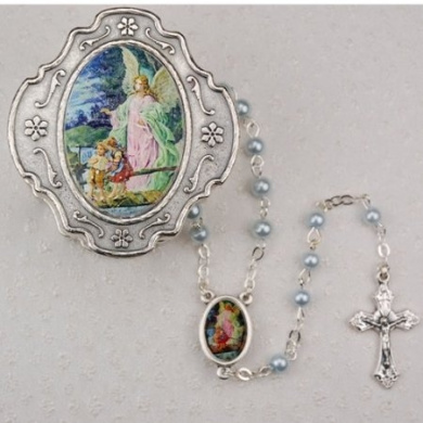 Guardian Angel Blue Rosary with Box Baptism Christening Communion Gift