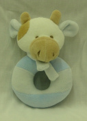 Cow Baby Rattle - Soft - Blue and White