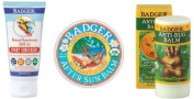 Badger Sun Care Set - SPF 35 Sports Sunscreen, After Sun Balm, Anti-bug Sticks