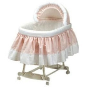 Pretty Pique Bassinet Liner and Hood - Pink - Size 16x32