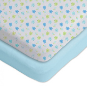 Gerber 2 Pack Cotton Knit Fitted Bassinet Sheets Blue/White Frog and Turtle Design