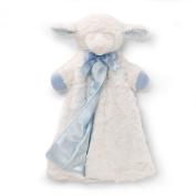Gund 65804 Blanket-Plush-Huggybuddy-Winky Lamb, White with Blue Trim - 43cm