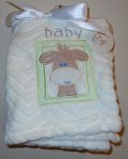 Baby Giraffe Embroidered Plush Blanket - Cream