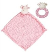 Super Soft Security Blanket with Matching Rattle Baby Gift Set : Pink Giraffe