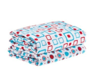 My Little Legs Geometric Turquoise & Red 100% Cotton Swaddle Set of 2 Large 114.3cm X114.3cm Muslin Baby Girl or Boy Blankets