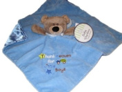 Thank Heaven for Little Boys Bear Baby Security Snuggle Buddy Blanket Blue