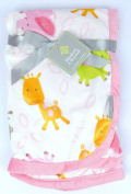 Blankets & Beyond Giraffe Elephant Monkey Blanket Pink Orange