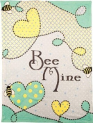 Izzy Coral Fleece Throw Nursery Blanket, Bee Mine