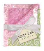 Pink and Green Minky and Satin Baby Blanket by Sweet Jojo Designs