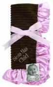 Sue Berk Designs Pink Embroidered Plush Soft Blanket, Bless This Child