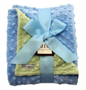 Meg Original Baby Blue & Green Minky Dot Blanket
