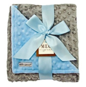 Meg Original Baby Blue & Grey Minky Blanket