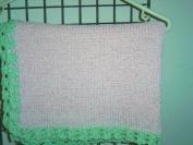 Bk7bp.mt, Knitted on Hand Knitting Machine Baby Pink Chenille Light Mint Tim 81.3cm x116.8cm Blanket