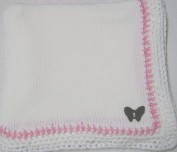 Knitted on Hand Knitting Machine White Cotton Hand Crochet Finished with Raspberry Cotton Rayon Chenille Infant Girls Large Blanket Size 32 By 114.3cm Trimmed with Black Velvet Rhinestone Butterfly