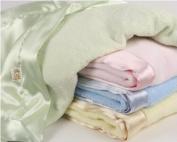 Blue - Comfort Silkie Satin & Chenille Baby Blanket 91.4cm x71.1cm
