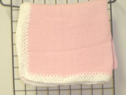 Ck641, Knitted on Hand Knitting Machine Raspberry Cotton 78.7cm By 114.3cm Blanket Trimmed By Hand Crochet with White Chenille for Newborns and Infants