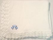 Hand Machine Knitted Finished with Hand Crochet White Cotton Infant Boys Forty Five Inch Long Thirty Two Wide Blanket Hand Crochet Trimmed with Chenille and Blue Car Patch