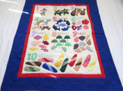 Hawaiian quilt NUMBER crib baby comforter blanket hand quilted/wall hanging