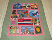 "Hawaiian quilt ""Scene Of Hawaii"" crib baby comforter blanket hand quilted and wall hanging"