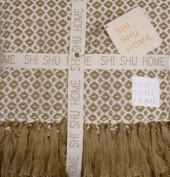 Shi Shu Home Handwoven Classic Throw Blanket - Taupe