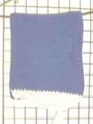 Bk601, Knitted on Hand Knitting Machine Navy Cotton 78.7cm By 114.3cm Blanket Trimmed By Hand Crochet with White Chenille for Newborns and Infants