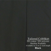 Tailored Crib Dust Ruffle 38.1cm long, Black