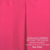 Hot Pink CribSkirt Tailored Dust Ruffle for Crib 38.1cm long