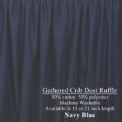 Navy Blue Cribskirt Gathered Dust Ruffle 38.1cm long