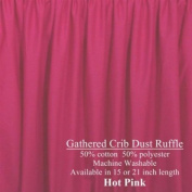 Hot Pink Dust Ruffle for Crib 38.1cm long Cribskirt, Gathered