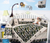 SoHo Boy Camouflage Army Baby Crib Nursery Bedding Set 13 pcs included Nappy Bag with Changing Pad & Bottle Case
