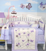 SoHo Lavender Flower Garden Baby Crib Nursery Bedding Set 13 pcs included Nappy Bag with Changing Pad & Bottle Case